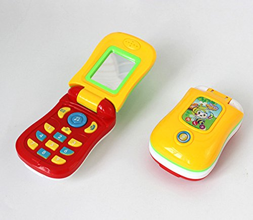 Cooplay Toy Flip Cell Phone Music Mobile Early Education Play Learning Cellphone for Baby Kids Children