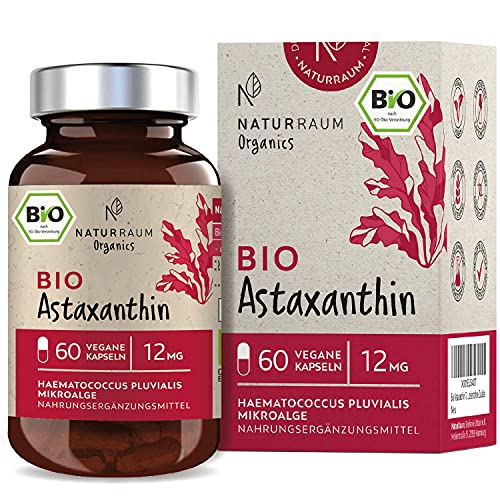 Bio Astaxanthin 12 mg I Vegan I 60 Kapseln im Glas I natürliches Antioxidant aus Haematococcus Pluvialis Mikroalge I Optimierte Bioverfügbarkeit mit Olivenöl I Depot Kapseln I hochdosiert ohne Zusätze