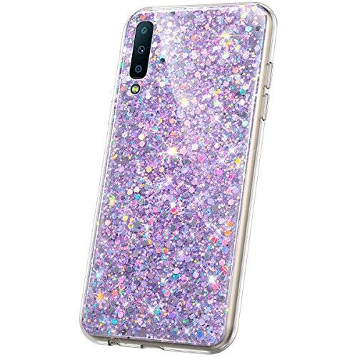 JAWSEU Compatible Avec Samsung Galaxy A7 2018 Coque Glitter Paillette Brillant Silicone TPU Transparente Diamant Strass Case Cristal Clair Flexible Souple Gel Bumper Case pour Galaxy A7 2018,violet