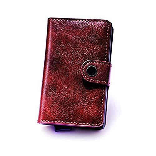 Minimalistische Slim Leder Kreditkarteninhaber Moderne RFID Aluminium Ejector Wallet für M?nner Frauen mit Geschenkbox (Rot)