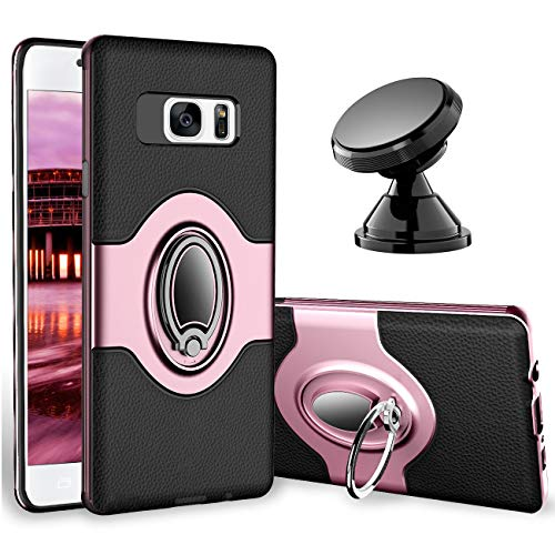 eSamcore Samsung Galaxy S7 Case Ring Holder Kickstand Cases + Dashboard Magnetic Phone Car Mount [Rose Gold]