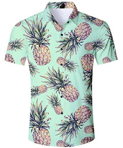 TUONROAD Shirt Herren Funny Hemd mit Ananas Grün 3D Gedruckt Muster Bunte Funky Shirt Hemd Herren Kurzarm Sommerhemd Button Down Freizeithemden Strandhemd Hawaii Hemd Männer Jungen XL