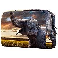 コスメティックバッグメイクアップバッグ 旅行化粧ポーチクラッチ財布トイレタリーバッグ,自然の中でインドの象の夕日