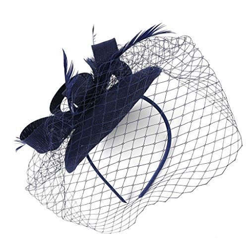 Dicomi Damen Haarband Haarschmuck 20er 50er Jahre Hut Pillbox Hut Cocktail Tea Party Headwear Fascinators Hüte Dunkelblau