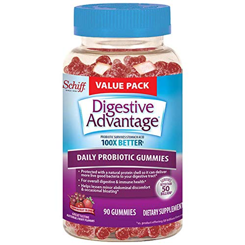 Daily Probiotic Natural Fruit Flavor Gummies, Digestive Advantage (90 Count In A Bottle) - Helps Relieve Minor Abdominal Discomfort & Occasional Bloating*, Supports Digestive & Immune Health*