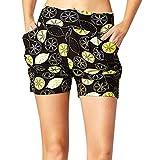 cinnamou Damen-Sommer-Print-Taschenshorts Frauen-Damen-Sommer-Frucht-gedruckte Taschen-Kurzschluss-weiche Harem-Hosen-Hose -