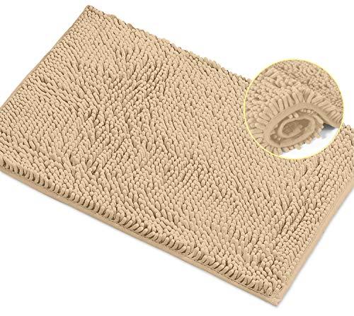 LuxUrux - Alfombrilla de baño extra suave para ducha, material de microfibra de chenilla de 2,5 cm, alfombra de baño súper absorbente. Lavar y secar a máquina (15 x 23, abedul)