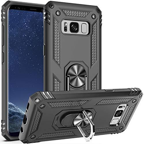 Fetrim Custodia per Galaxy S8 Plus, Cover PC TPU Cassa Shell Supporto di Anello Rotante Case per Samsung Galaxy S8 Plus Nero