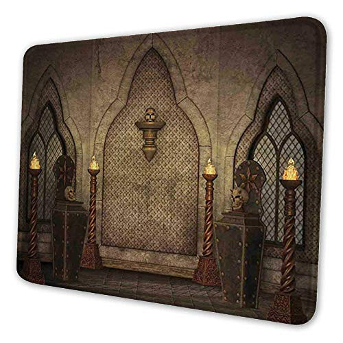 Waterproof Gaming Mouse Mat, Non-Slip Rubber Base Design for Laser Optical Mouse,Large Size,Fantasy Scene with Old Fashioned Wooden Torch and Skull