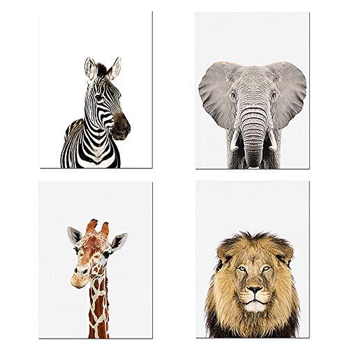 Nordic Ideas Juego de 4 Cuadros Niños 30x40 Elefante Cebra Jirafa León Laminas Infantil Animales Pósteres Impresión en Lienzo Decoración Habitación Bebé Regalo Sin Marco ZEGL