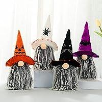 ハロウィーンのgnomeぬいぐるみ、魔女のクロークの帽子の装飾手作りのハロウィーンのドワーフ人形、置物のドワーフの顔のない人形のギフトの装飾品、4個