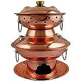 ZHIRCEKE Pote Caliente Doble Multi Cocina Barbacoa Pan Pot Hot Pot Doble Charcoal Cobre Hot BOT, Proceso de Carbón Viejo Exterior Ensegado Exterior,28cm