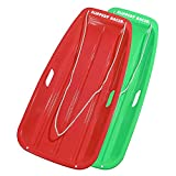 Slippery Racer Downhill Sprinter Flexible Plastic Winter Toboggan Snow Sled with Pull Rope for 1 Adult or Kid Rider, Red/Green (2 Pack)