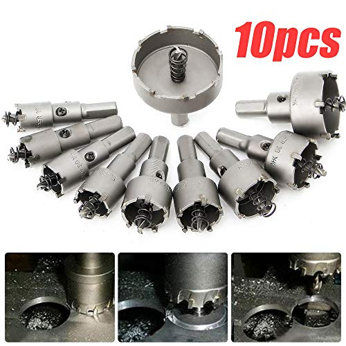 Fdrone 10pc/set 16mm-50mm Steel Carbide Tipped Drill Bit TCT Metal Wood Cutter Hole Saw,Repair Tools Shipping from US