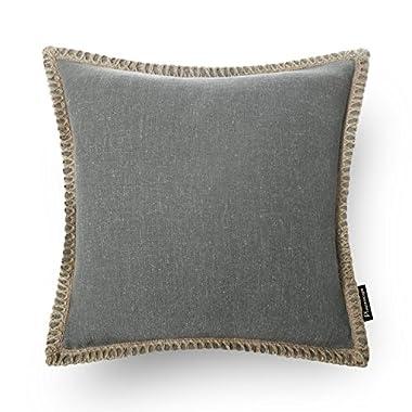 "PHANTOSCOPE Decorative Farmhouse Serious Linen Trimmed Throw Pillow Cushion Cover Grey 18""x 18""45cm x 45cm"
