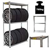 TRUTZHOLM® Reifenregal Reifenständer Steckregal 180x120x40 cm 795 kg | Platz für bis zu 8 Räder höhenverstellbar Garagenregal Kellerregal Werkstattregal