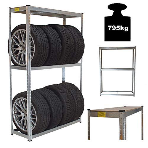 TRUTZHOLM® Reifenregal Reifenständer Steckregal 180 x120 x 40 795 kg Platz für bis zu 8 Reifen höhenverstellbar Garagenregal Kellerregal Werkstattregal