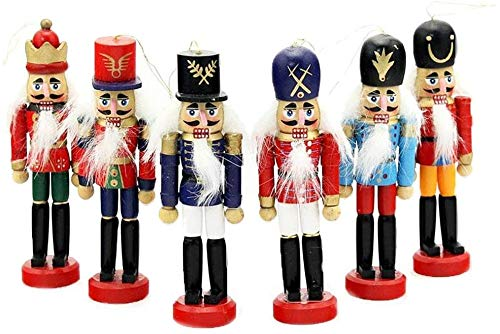 6 PCS Per Set Christmas Decorations Nutcrackers Wooden Soldier Puppet Anvor 12cm Wood Novelty Decorative Ornament Home Decor Gifts Presant Tree Pendant