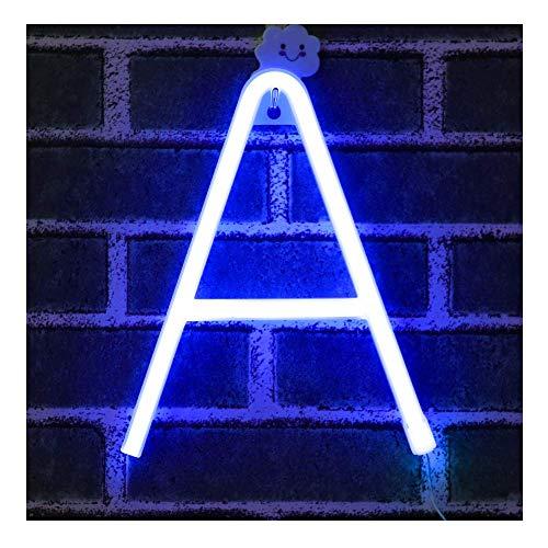 Azul Letreros de neón Luz nocturna Luces LED de marquesina Arte de neón Luces decorativas Decoración de pared para niños Habitación para bebés Decoración de banquete de boda de Navidad (A)