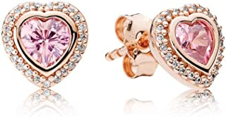 Pandora Sparkling Love Rose Gold Stud Earrings with Pink & Clear CZ 280568PCZ