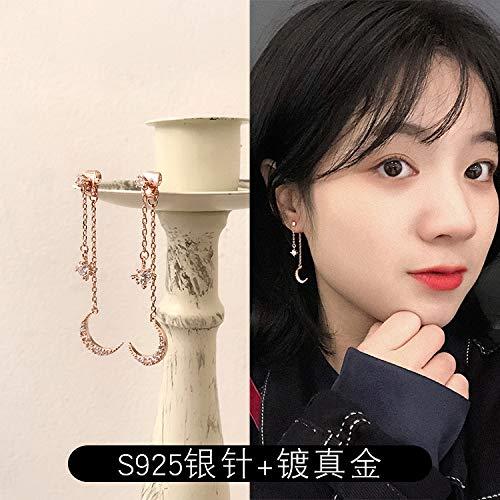Chwewxi Exquisite Sterne Mond Kleine Ohrringe Korea Super Fairy Temperament Ohrstecker Asymmetrische Ohrringe, 8 Zirkon Mond Ohrringe (Silber Nadel)