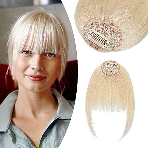 Elailite Frangia Clip Capelli Veri Extension Frangetta 100% Remy Human Hair Puliti Stile Fumetti 5.5cm*14.73cm con Tempie 27.94cm (9g # Biondo Chiaro)