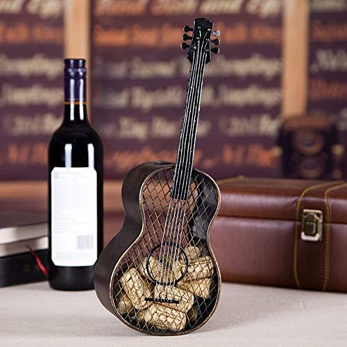 WANGXINQUAN Decoración de metal para decoración del hogar, práctica artesanía, guitarra, tapón de botella de vino, 13 x 7,6 x 35,1 cm