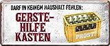 """Blechschilder Bier Schild lustiger Spruch: """"DARF IN KEINEM Haushalt FEHLEN"""" Deko Metallschild Türschild für Pub Theke oder Bar Geschenkidee für Deine Trink und Sauf Fre&e 28x12 cm"""
