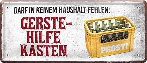 """Blechschilder Bier Schild lustiger Spruch: """"DARF IN KEINEM Haushalt FEHLEN"""" Deko Metallschild Türschild für Pub Theke oder Bar Geschenkidee für Deine Trink & Sauf Freunde 28x12 cm"""