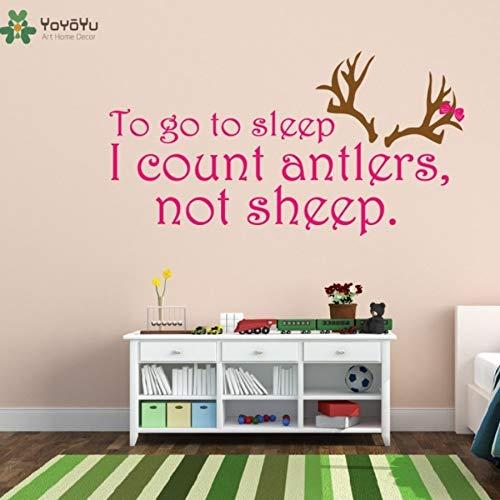 Sakkdaull Decoratoin to Go to Sleep I Count Antlers Not Sheep Nursery ation Kids Girl BoyArt Vinyl Women Bedroom Decor Wall Sticker 80X42cm