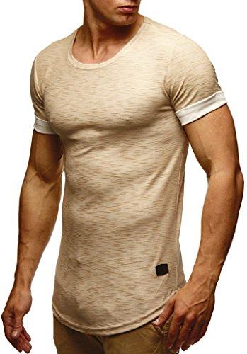 Leif Nelson Camiseta para Hombre con Cuello Redondo LN-6356 Beige Large