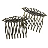 2 Pcs Retro Carved Flower Vines Bronze Hair Combs Decorative Mini Combs DIY Bridal Hair Accessories, 2 Inches