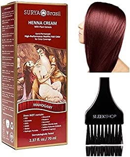 Surya Brasil All Natural HENNA Hair Color CREAM Plant Extracts, Semi-Permanent for Grey Coverage (with Brush) Brazil (MAHO...