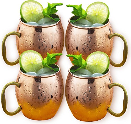 Estilo Handcrafted Solid Copper Moscow Mule Mugs, 20-ounce - Set of 4