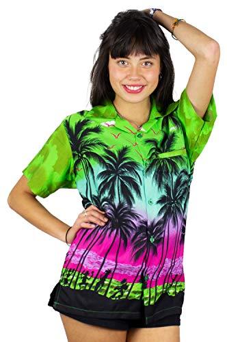 V.H.O. Funky Hawaiibluse, Hawaiihemd, Kurzarm, Beach, Grün, XL