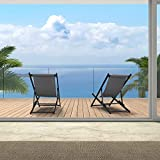 PURPLE LEAF Outdoor Reclining Camping Chairs Set of 2, Patio Folding Portable Lounge Chairs, 5-Positions Adjustable Beach Sling Chairs with Cushioned Headrest, Grey