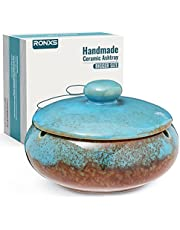 RONXS Ashtray, Outdoor Ash tray for Patio with Lid, Windproof Ashtrays for Cigarettes, Handmade Ceramic Ashtray for Home Office Indoor Decoration(bule)