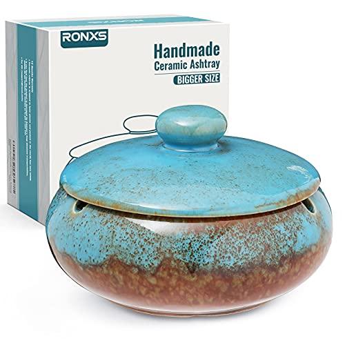 RONXS Aschenbecher mit Deckel für draußen, Keramik und Winddichte Aschenbecher für Raucher, Handgemachte Kreativer Sturmaschenbecher als Dekoration für Zuhause und Büro(Blau)