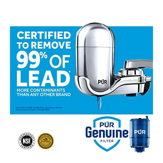 PUR FM-3700 Advanced Faucet Water Filter, Chrome 2 Advanced Faucet Filtration System: Featuring Sinple One Click Tool Free Attachment, There's Never Been an Easier or More Reliable Way to Get Healthier, Cleaner, Great Tasting Water Straight From Your Faucet Faucet Water Filter; PUR faucet filters provide 100 gallons of filtered water, or 2 3 months of typical use, before you need a replacement. Only PUR faucet filters are certified to reduce contaminants in PUR faucet filter systems WHY FILTER WATER? Home tap water may look clean, but may contain potentially harmful pollutants & contaminants picked up on its journey through old pipes. PUR water filters, faucet filtration systems & water filter pitchers reduce these contaminants