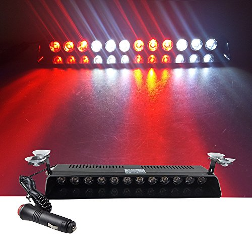 12V Car Truck Emergency Strobe Flash Light Sucker Dashboard Interior Windshield Warning Light Bar Current (12LED, Red White Red White)