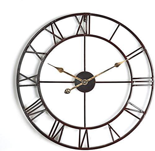 Digitaluhr großer runder Metallrahmen Innen- / Außen-Gartendekoration Uhr 31.5inch,B- 58 cm 22.8 inches