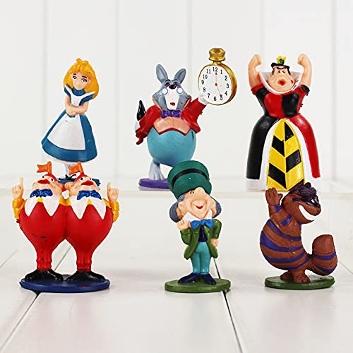 Alice in The Wonderland Figures Mad Hatter Cheshire Cat White Rabbit Red Queen of Hearts Tweedle Dee Dum Anime Model Toys 6 Pcs
