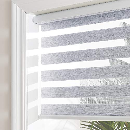 NICETOWN Zebra Roller Blinds, Window Shades Dual Layer Sheer Privacy Day and Night Window Drape (Maximum Height 72inch, Grey Color, Width 23 inch)