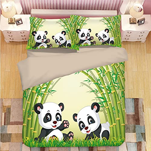ysldtty 3D Panda Print Bedding Set Duvet Covers Pillowcases Comforter Bedclothes Bed Linen U-2276W 220CM x 240CM With 2 Pice Pillowcase 50CM x 75CM