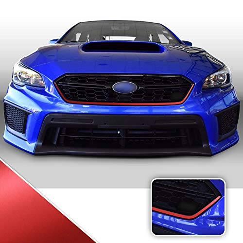 Optix Front Grille Bumper Pinstripe Vinyl Decal Overlay Wrap Trim Inserts Sticker Compatible with and Fits WRX STi 2018 2019 2020 - Metallic Matte Chrome Red