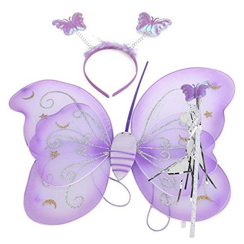 VORCOOL Ensemble de 3pcs enfants Kids Butterfly Wing baguette bandeau Cosplay Party fantaisie Costume de fée (violet)