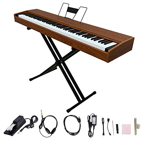LES AILES DE LA VOIX 88 Key Portable Digital Piano Electric Piano Home Piano for Beginner Adults with Standard Keys,X Stand,Sustain Pedal,Power Adapter,Headphone