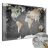 LanaKK - Weltkarte Graphit mit Kork Rückwand - edel Leinwand Bild Kunstdruck auf Keilrahmen - Pinnwand für Weltenbummler in 120x80 cm, einteilig