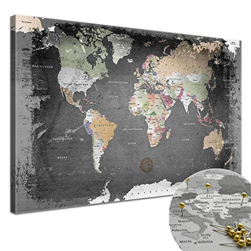 """LanaKK - Weltkarte Leinwandbild mit Korkrückwand zum pinnen der Reiseziele – """"Weltkarte Graphit"""" - deutsch - Kunstdruck-Pinnwand Globus in schwarz, einteilig & fertig gerahmt in 150x100cm"""