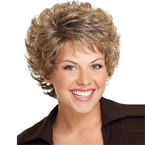 DUTISON Women Wig Fashion Short Hair with Bangs Soft Brown Synthetic Wigs (A)